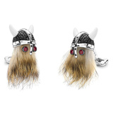 ​Viking Skull Cufflinks with Black Spinel Helmet & Ruby Eyes