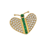 French Emerald & Diamond Butterfly Pin