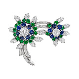 Diamond, Emerald & Sapphire Spray Pin