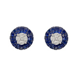​Diamond & ​​Invisibly-Set Sapphire Domed Stud Earrings