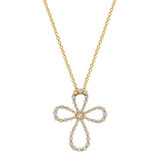 Small 18k Gold & Diamond Maltese Cross Pendant