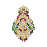 Diamond & Multicolored Gemstone Pendant Brooch