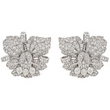 Pair of Diamond Orchid Flower Dress Clips
