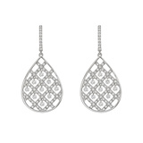 Diamond Pear Criss-Cross Drop Earrings