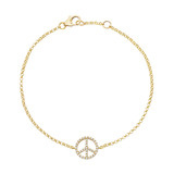 ​18k Gold & Pavé Diamond Peace Sign Bracelet