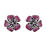 Small Diamond, Pink Sapphire & Ruby Flower Earclips