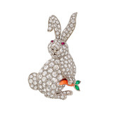 ​Diamond Rabbit with Coral Carrot Brooch