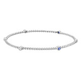 18k White Gold, Diamond & Sapphire Twistwire Bangle