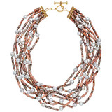 8-Strand Jasper Bead & Pearl Necklace