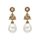 South Sea Pearl, Beryl & Diamond Drop Earrings