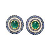 Emerald, Sapphire & Ivory Earclips