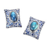 "Rainbow Moonstone & Gem-Set ""Pillow"" Earclips"