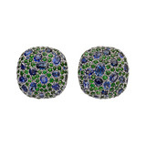 "Sapphire & Tsavorite ""Pebble"" Earrings"