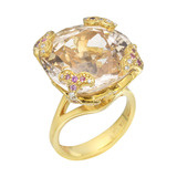 Champagne Topaz Ring with Pink Sapphire & Diamond