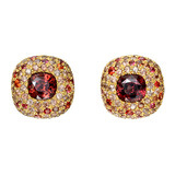 Zircon & Orange Sapphire Cushion-Shaped Earclips