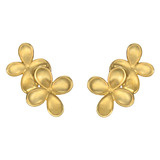 18k Gold Double Flower Earclips