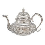 Antique Dutch Silver Tea Pot with Twin Crests