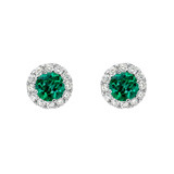 Emerald & Diamond Cluster Stud Earrings