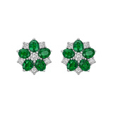 ​​Emerald & Diamond Flower Cluster Earstuds
