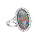 Black Opal & Diamond Cluster Ring