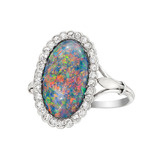 Black Opal &amp; Diamond Cluster Ring