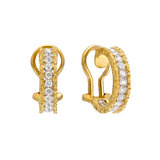 18k Gold &amp; Diamond Hoop Earrings