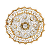 Pierced 18k Gold & Diamond Circular Brooch