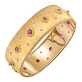 18k Gold, Ruby & Diamond Cuff Bracelet