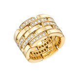 Panthère 18k Gold & Pavé Diamond Band Ring