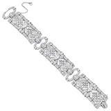 Marquise-Shaped Diamond Cluster Panel Bracelet