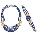Diamond-Set Bow Sapphire Bead Necklace & Bracelet Suite