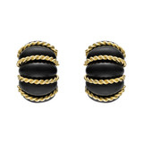 "18k Gold & Ebony ""Shrimp"" Earclips"