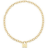 """1837"" 18k Gold Link Necklace with Padlock Pendant"