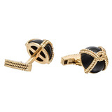14k Gold &amp; Black Onyx Dome Cufflinks