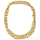18k Gold & Diamond 3-Row Collar Necklace