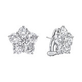 Extra Large Diamond Flower Cluster Earclips (~8 ct tw)
