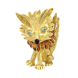 Whimsical 18k Gold & Enamel Fox Brooch