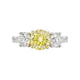 1.61 Carat Fancy Intense Yellow Diamond Three-Stone Ring