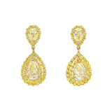 ​Pear-Shaped Fancy Yellow Diamond Drop Earrings