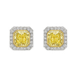 6.02 Carat Fancy Yellow & White Diamond Earrings