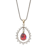 Opal & Diamond Frame Pendant Necklace