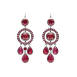Bezel-Set & Pavé Circle Ruby Drop Earrings