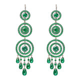 Emerald Concentric Circle Drop Earrings