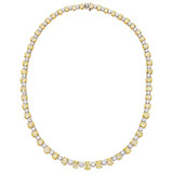 Yellow & White Diamond Line Necklace