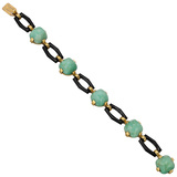 French Art Deco Amazonite & Onyx Bracelet