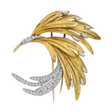 French 18k Gold, Platinum & Diamond Bird Brooch