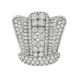 ​French Diamond Crown Brooch (~14.77 ct tw)