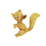 Small French 18k Gold Squirrel Pin