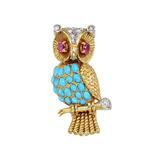 French 18k Gold & Gem-Set Owl Pin