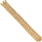 French Retro 18k Gold & Diamond Link Bracelet